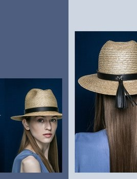 BLANC BLANC - Floppy Straw Hat with Tassle - Size 56 - Black