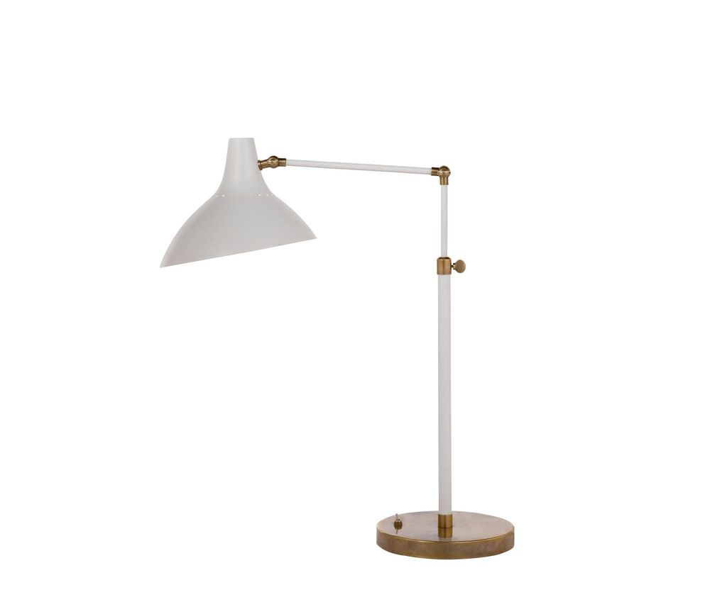 AERIN - Charlton Table Lamp in White and Hand-Rubbed Antique Brass
