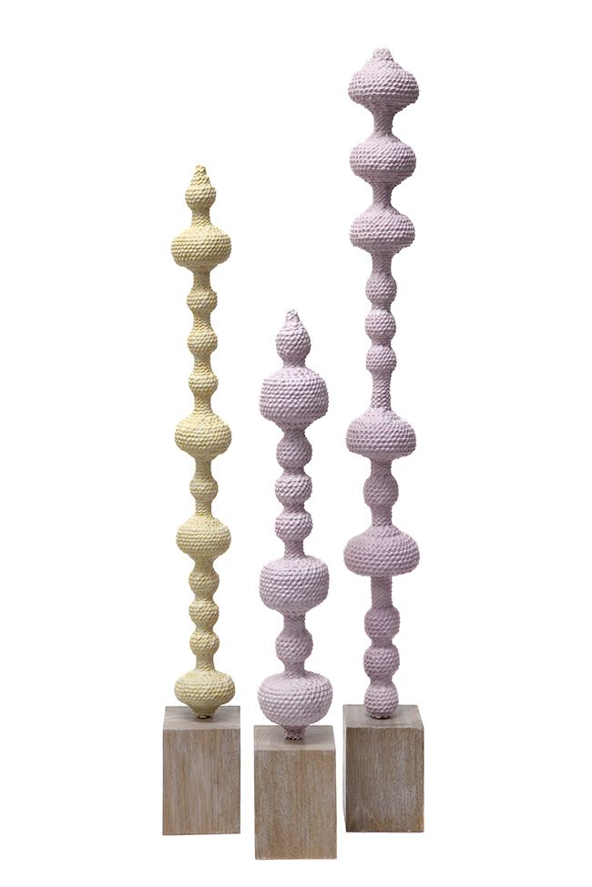 ACCUMULA Totem (2017 ) - Sculpture in Ceramic Dipped Woven Pink Cotton on Australian hardwood base - Small - 2 by Lyn&Tony