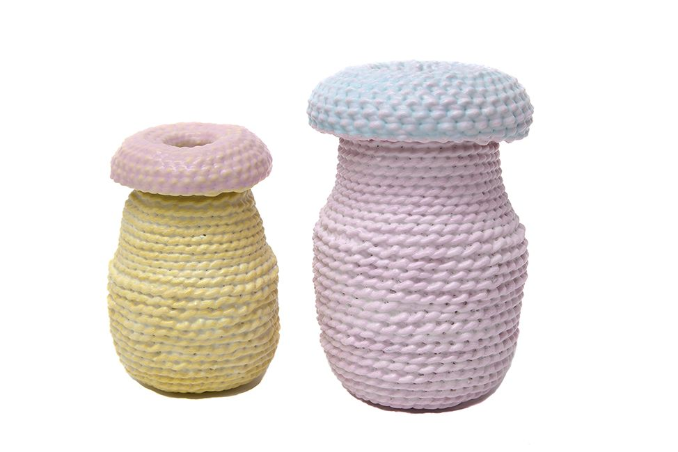 ACCUMULA (2017 ) - Large Unique Vessels Dipped Woven Cotton with Painted Details - Pink/ Blue Top - 2 byLyn&Tony