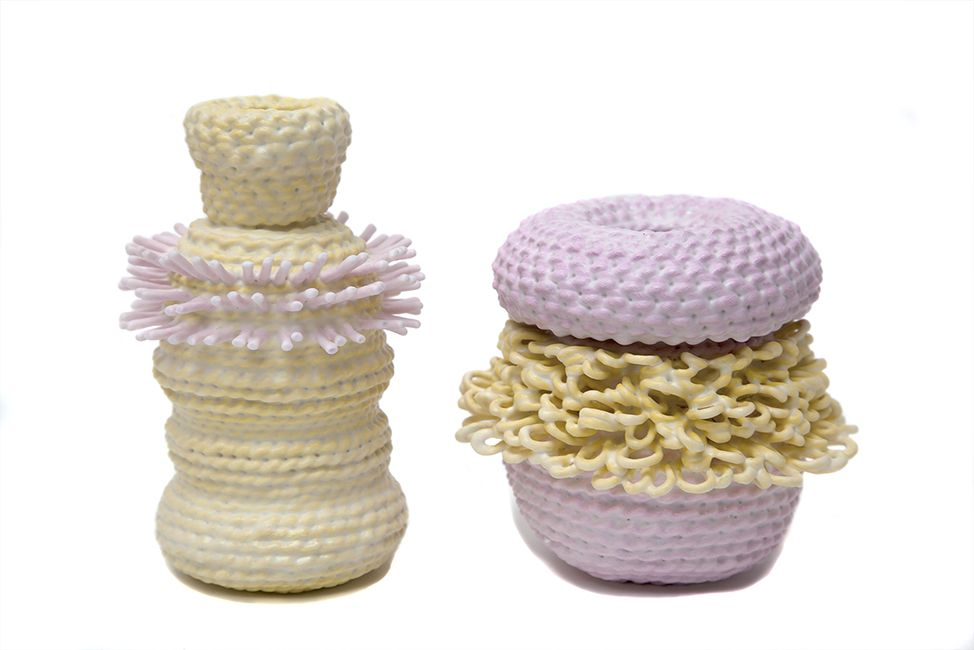 ACCUMULA (2017 ) - Unique Vessels Dipped Woven Cotton with Painted Details - Pink with Yellow Loops - 2 byLyn&Tony