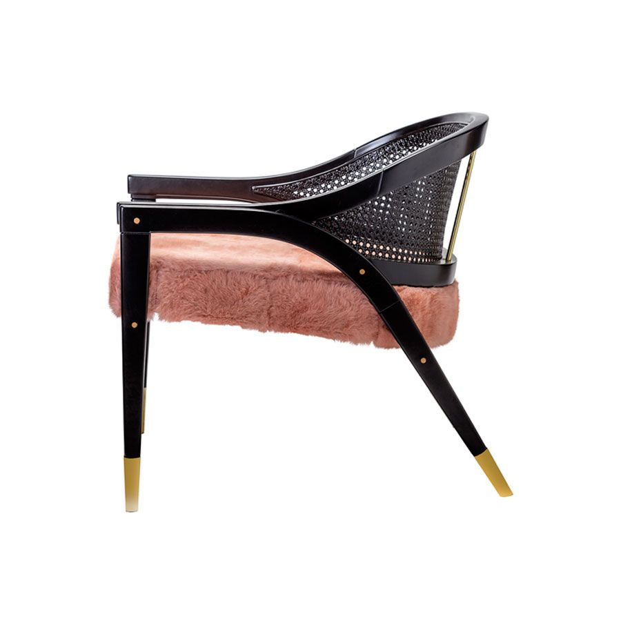 Wormley Chair - Natural Wood or Black Lacquer and Rattan -  Various Fur Colour Options Available - W75cm D70cm H68cm