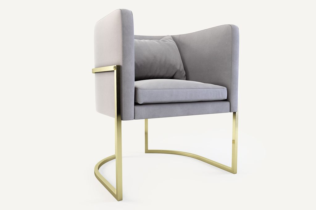 Julius Chair - Brushed Brass and Velvet - Various Finishes and Fabric Colours available - W62cm D60cm H71cm, Seat Height 45cm