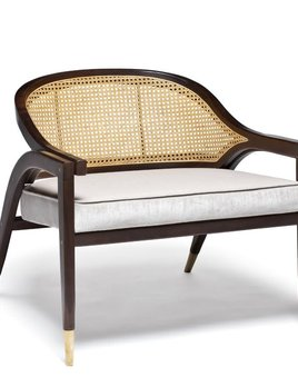 Wormley Chair - Natural Wood or Black Lacquer and Rattan - Various Velvet Colours Available - W75cm D70cm H68cm