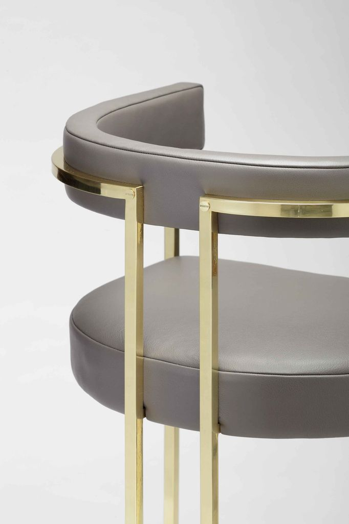 Julius Barstool - Brushed Brass and Siege Grey Velvet - Various Velvet Colour Options and Metal Finishes Available