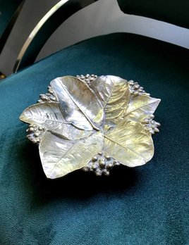 B.M.V.A. Vintage Solid Brass Virginia Metal Crafters Lemon Leaf Dish - D17cm (Very Heavy)