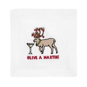 August Morgan Olive a Martini - Holiday Cocktail Napkins - Set of Four