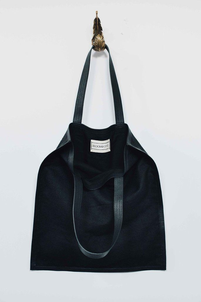 Bloom and Give Elise Silk Tote with Leather Edging - Black