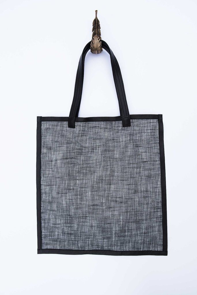 Bloom and Give Elise Khadi Tote with Leather Edging - Grey/Black