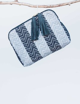 Bloom and Give Elise Kavya Clutch or Bag - Blue and Chevron
