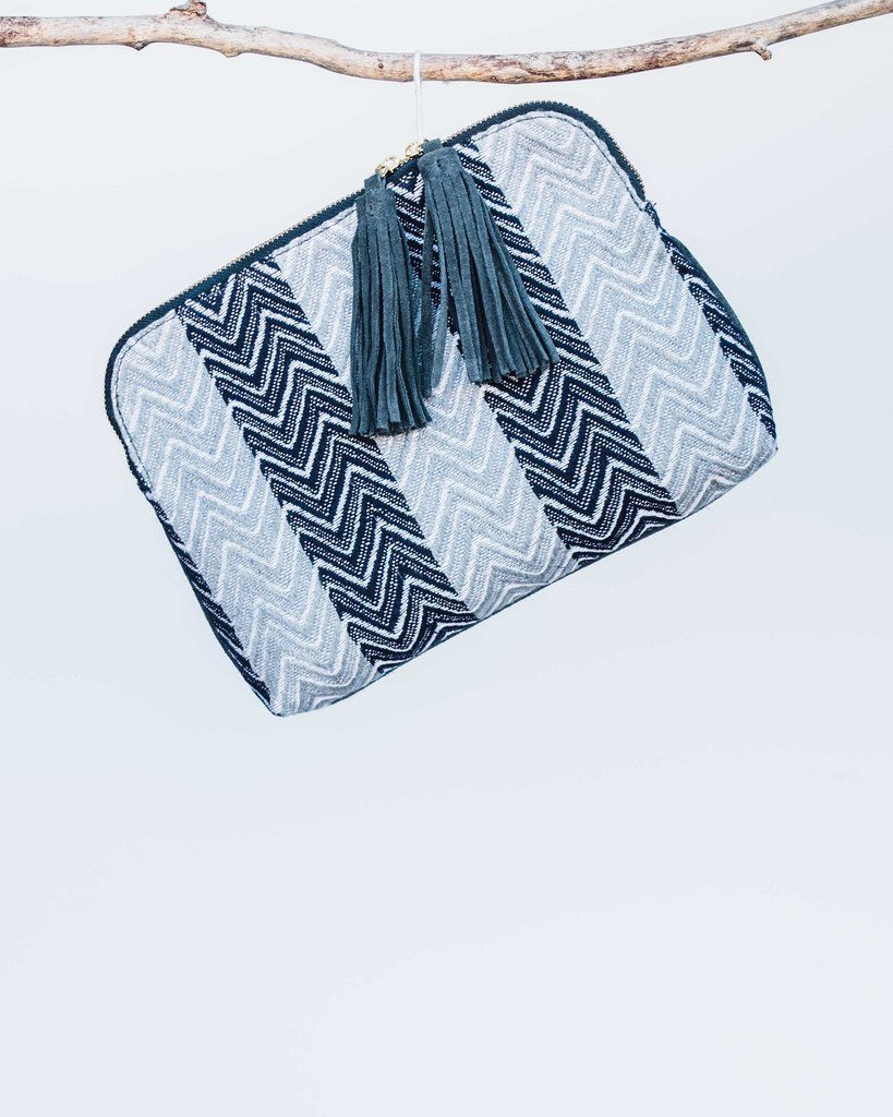 Bloom and Give Elise Kavya Clutch - Blue and Chevron