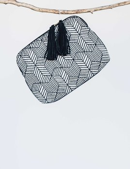 Bloom and Give Elise Kavya Clutch - Black and White