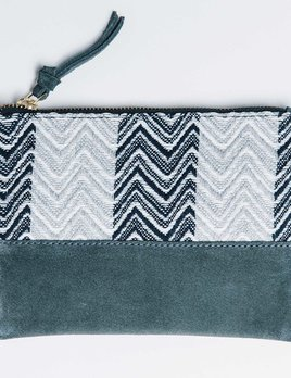 Bloom and Give Kina Cosmetic Bag or Clutch - Blue and Chevron
