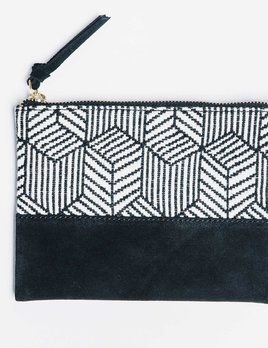 Bloom and Give Kina Cosmetic Bag or Clutch - Black and White Herringbone