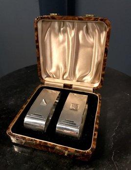 B.M.V.A. Vintage Sterling Silver Art Deco Napkin Rings - Pair - Original Box - Hallmarked John Rose - Birmingham 1936