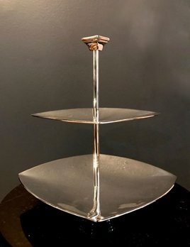 Brassco BECKER MINTY Silver Plated (Brass) Geometric Cake or Petit Four Stand for High Tea H24xW21cm