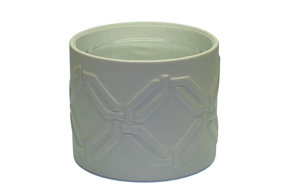 riviere Riviere - Round leather Cachpot with embossed oval motif - Grey  - Handmade in Italy - 13x16