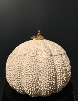 Home Large White Ceramic Sea Urchin Box - Gold Coral on Top - Gloss White - Italy