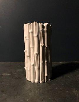 Home Medium Bamboo Vase - Gloss White - H32xD16cm