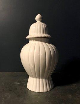 Home Extra Large Ceramic Ginger Jar or Covered Vase - Gloss White - H57cm