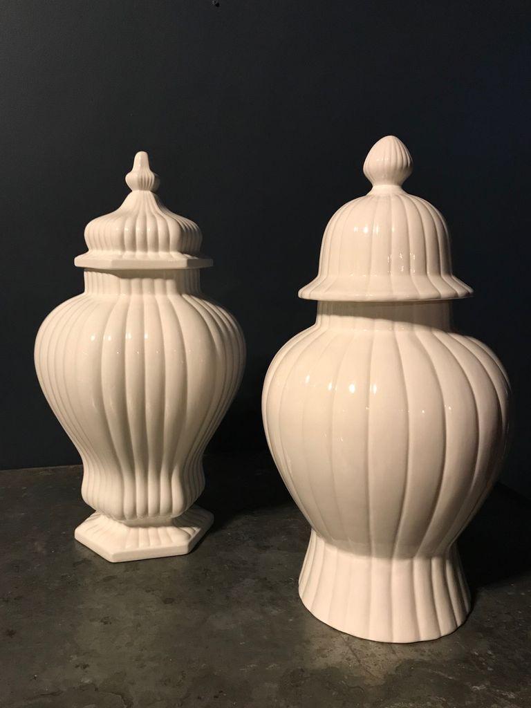 Home Extra Large Ceramic Ginger Jar or Covered Vase - Gloss White - H58cm