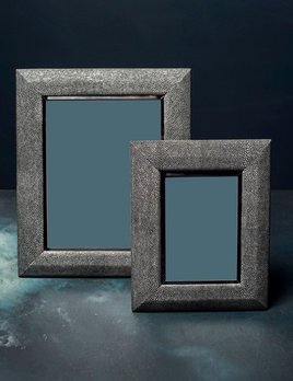 "BECKER MINTY Frame - 5"" x 7"" - Charcoal Embossed Shagreen and Polished Stainless Steel"