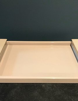 riviere Riviere - Vanity Tray - Taupe Lacquered Wood Base and Braided Leather Trim - Chrome Details - 20x30