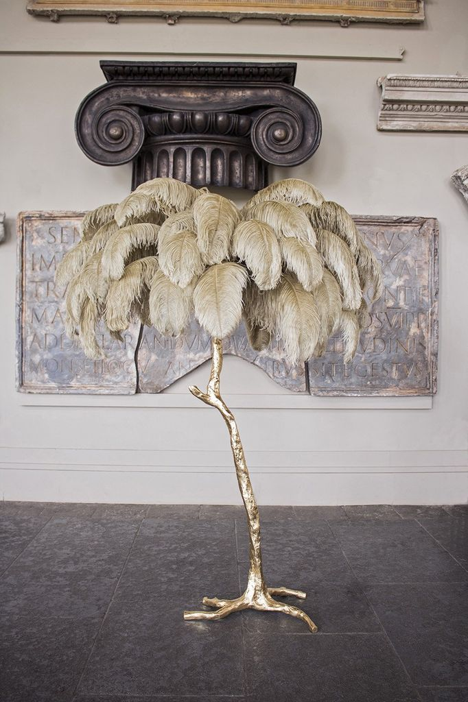 Aynhoe The Ostrich Feather Lamp with Gold Base