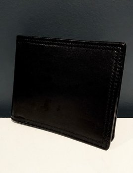 Luxury Calf Leather Bifold Wallet with Coin Compartment - Black - Germany