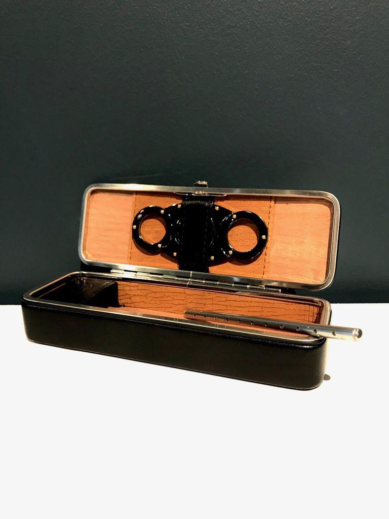Luxury Calf Leather Travel Cigar Case - Black - Germany
