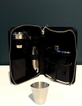Luxury Calf Leather Hip Flask Travel Kit- Black - Germany