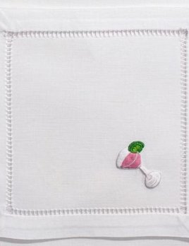 BECKER MINTY Set of Four - Hand Embroidered Cotton Cocktail Napkins - Cosmo
