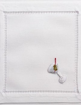 BECKER MINTY Set of Four - Hand Embroidered Cotton Cocktail Napkins - Martini