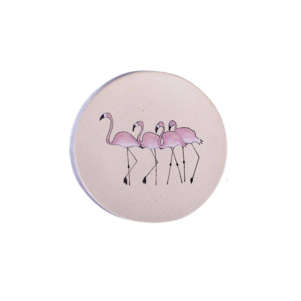 Three Seven Pink Flamingo Ceramic Plate - Group - Hand Made in France