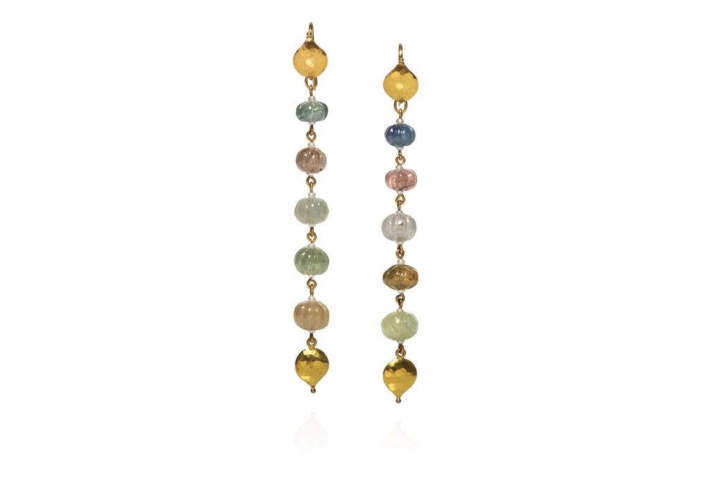 Lisa Black Jewellery - Sapphire Babylon Drop Earrings - Pastel coloured melon cut sapphire - 22ct Gold - Handmade in Australia
