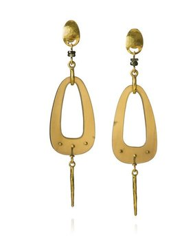 Lisa Black Jewellery - Dreamcatchewr Teardrop Earrings - Sapphire and 22ct Gold - Handmade in Australia