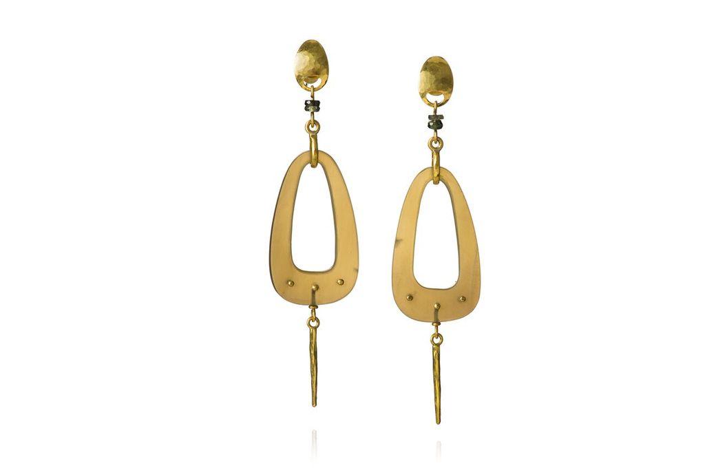 Lisa Black Jewellery - Dreamcatchewr Teardrop Earrings - Sapphire and 22ct Gold - Handmade in Australia