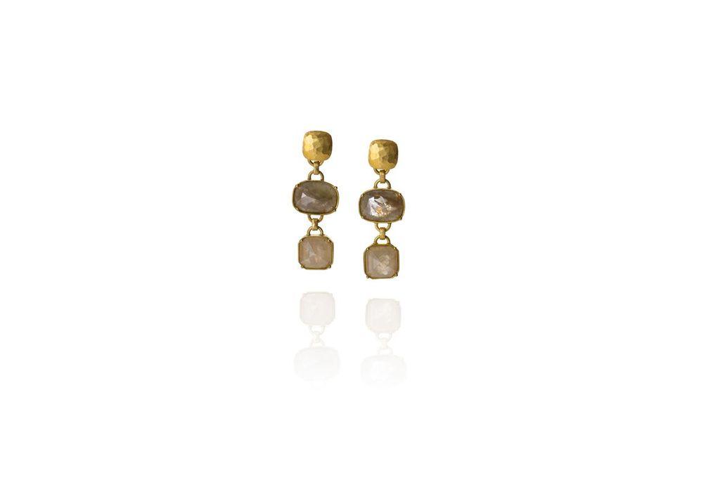 Lisa Black Jewellery - Diamond Jayne Double Drop Earrings - Unusual diamond facet stone - 22ct gold - Handmade in Australia