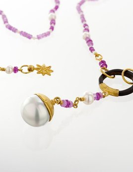 Lisa Black Jewellery - Pink Sapphire Opera South Sea Pearl Necklace - PNG 'Paya' Shell ring -  22ct Gold - Handmade in Australia