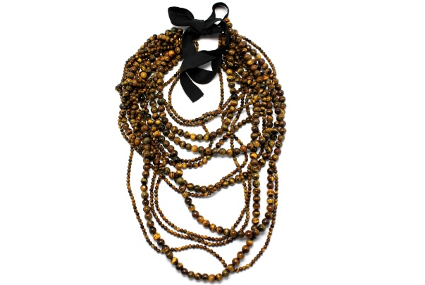 CARMEN - LONG Multi Strand Tigers Eye Bead Necklace on a Black Satin Ribbon  - Annie Campbell exclusively for Becker Minty - Australia