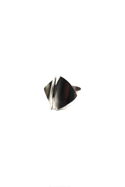 B.M.V.A. Solid Silver Ring - Two Curved and Concave Triangular Panels on a Plain Band. Erik Granit, Granit &amp; Co<br />Helsinki, Finland - 1971