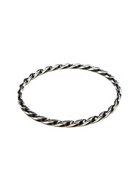 B.M.V.A. Solid Silver Bangle - Narrow Twisted Bangle with Oxidised Shading. Randers Solvvarefabrik - Randers, Denmark c.1970