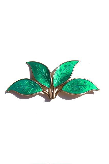 B.M.V.A. Vintage Enamel Brooch - Emerald Green Enamel Spray of Four Leaves - Sterling Silver -  Willy Winnaess for David Andersen - Oslo, Norway c.1965