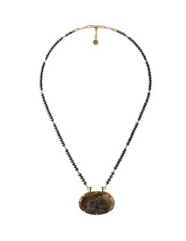 Lisa Black Jewellery - Black Diamond Star Sapphire Necklace - Black diamonds with rare black chatoyance or natural black star pendant - 22ct gold detail - Handmade in Australia
