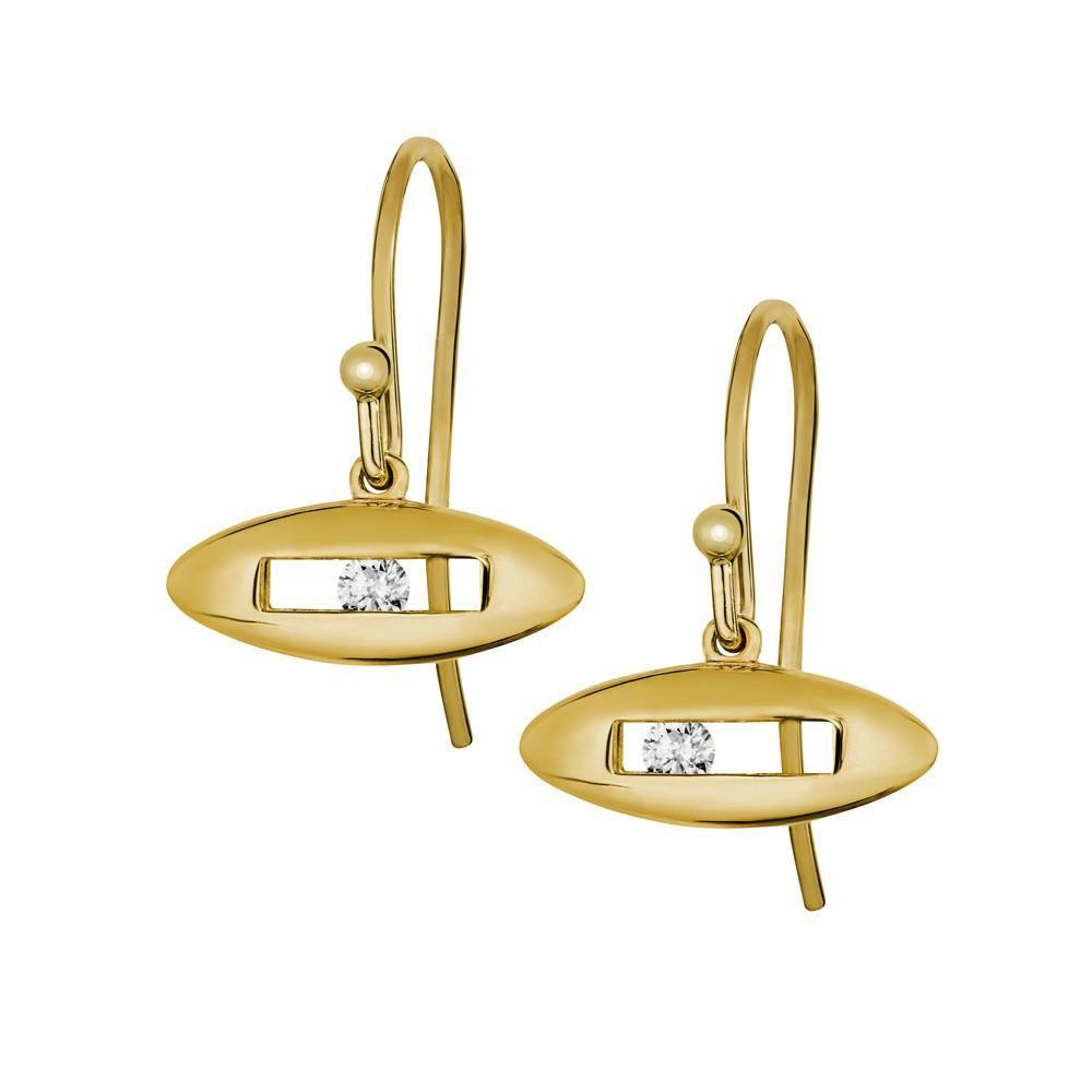 White Slide Earrings by Luke Rose - 9ct Yellow Gold