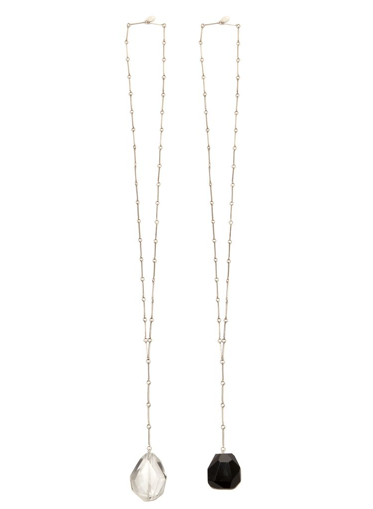 2 by lyn and tony Coda - Handmade Sterling Silver Chain & Facetted Black Agate Long Necklace by 2 By Lyn&Tony