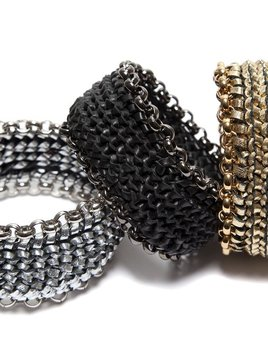 2 by lyn and tony Circuit - Black Woven Kangaroo Leather and Chain Bracelet by 2 By Lyn&Tony