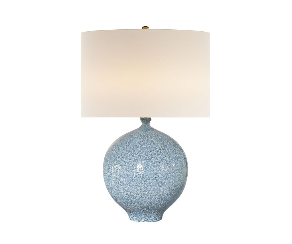 AERIN - Gaios Table Lamp in Blue Lagoon with Linen Shade