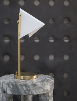 Kelly Wearstler Kelly Wearstler - Forma Round Base Table Lamp in Antique-Burnished Brass with White Glass