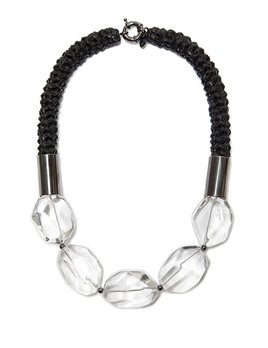 2 by lyn and tony Nebula -  Woven Black Kangaroo Leather Neckpiece with Crystal Quartz by 2 By Lyn&Tony